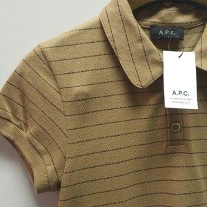 A.P.C. Tan Stripe Polo Small